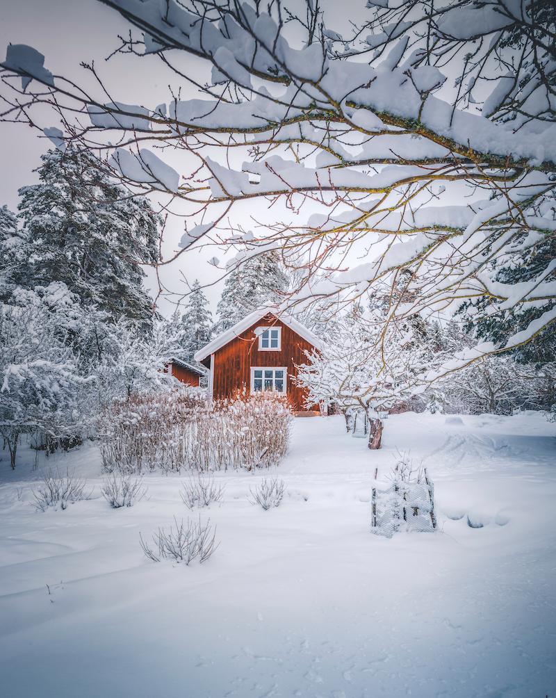 Punainen puutalo lumessa, Ekovilla eriste